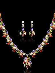 Wedding Accessories Green Crystal Jewelry Sets For Women Rhodium/18k Gold Plated Necklace Earring Set