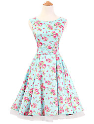 50s Era Vintage Style Sleeveless Rockabilly Dress Audrey Hepburn Cosplay Costume Mint Floral (with Petticoat)