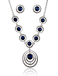 Women's Blue Gem Zircon Necklace&Earrngs Fine Jewelry Set for Wedding Party