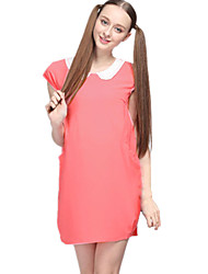 Pregnant Fashion Women Peter Pan Collar Ruched Short Sleeve Dress Casual Loose Cozy Maternity Dress