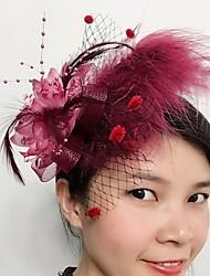 Femme Plume Filet Casque-Mariage Occasion spéciale Coiffure 1 Pièce