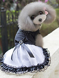 Noble Drilling Bowknot Pet Lace Dress