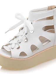Women's Shoes Platform Peep Toe / Platform / Creepers Sandals Dress / Casual Black / White / Silver