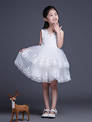 A-line Short / Mini Flower Girl Dress - Tulle Short Sleeve V-neck with
