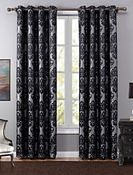 One Panel European Floral / Botanical Black Bedroom Polyester Blackout Curtains Drapes