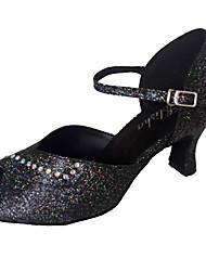 Customizable Women's Dance Shoes Latin/Ballroom Sparkling Glitter Customized Heel Black