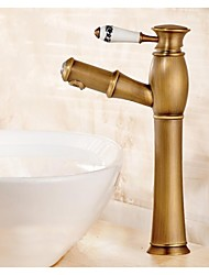 Antique Brass Copper Material Ceramic Handle Cold and Hot Water Tap Pull Out Spout Bathroom Tall Bain Faucet