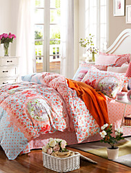 Orange flowers  100% Cotton Bedclothes 4pcs Bedding Set Queen Size Duvet Cover Set