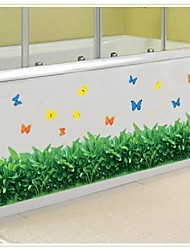 Flower Grass And Butterflies Wall Sticker Baseboard Living Room Wall Stickers Home Decor Waterproof Removable Stickers