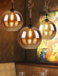 Loft American Rope Retro Lighting Bar Restaurant Lights Personality Living Room Clothing Store Glass Pendant Light 20cm