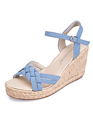 Women's Shoes Denim Wedge Heel Wedges Sandals Casual Blue