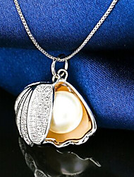 Elegant Silver Full -Crystal Zircon Shell Pearl Pendant Necklace for Lady Wedding Party Gift