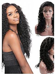 """8 """"-24"""" cabelo humano peruca cheia do brasileiro do cabelo virgem naturais profunda onda de cor preta"""
