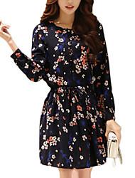 De las mujeres Línea A Vestido Simple Floral Mini Escote Redondo Poliéster