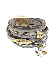 leather Charm BraceletsFashion Trendy 4 Rows Chain/Leaf/Beads/Crystal Set Genuine Leather Wrap Bracelet Christmas Gifts
