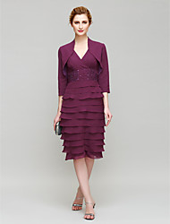 Lanting Sheath/Column Mother of the Bride Dress - Grape Knee-length 3/4 Length Sleeve Chiffon