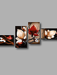 "Stretched (ready to hang) Hand-painted Oil Painting 76""x36"" Canvas Wall Art Modern Flowers Brown Red Magnolia"