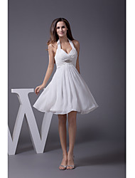 Cocktail Party Dress A-line Halter Knee-length Chiffon with Crystal Detailing / Draping