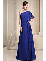 Floor-length Chiffon Bridesmaid Dress - A-line One Shoulder with Draping