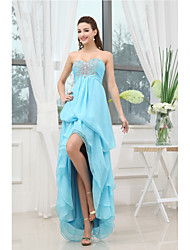 Cocktail Party Dress-Pool Sheath/Column Sweetheart Asymmetrical Chiffon