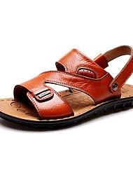 Черный / Коричневый / Оранжевый-Мужская обувь-Для прогулок / На каждый день-PU-Сандалии
