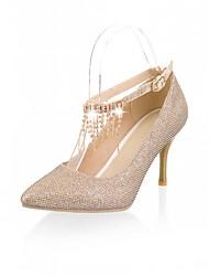 Women's Shoes Leatherette Stiletto Heel Heels Heels Wedding / Office & Career / Dress Black / White / Khaki