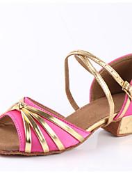 Latin Kid's Dance Shoes Sandals Cuban Heel Black/Red/Blue/Fuchsia