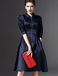 Women's Simple Sheath Dress,Solid Shirt Collar Knee-length ½ Length Sleeve Blue / Red Polyester Spring