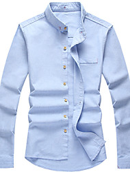 2016 new fashion trend of young men's business casual linen shirt color slim thin long sleeved shirt