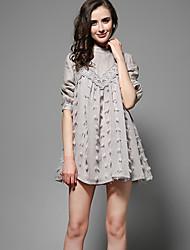 Mulheres Vestido Evasê Moda de Rua Sólido Maxi Colarinho Chinês Linho