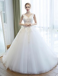 Ball Gown Wedding Dress Cathedral Train V-neck Lace / Tulle with Embroidered
