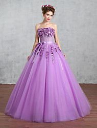 Princess Wedding Dress-Grape Floor-length Strapless Tulle