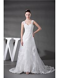 Sheath/Column Wedding Dress-Ivory Chapel Train Sweetheart Organza / Satin
