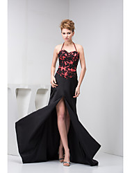 Formal Evening Dress-Black Trumpet/Mermaid Halter Court Train Charmeuse