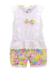 Girl's White Clothing Set,Floral / Bow Cotton Summer