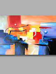 "Stretched (Ready to hang) Hand-Painted Oil Painting Canvas 36""x24""  Wall Art Abstract Contempory Blue Pink"