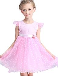 Girl's Dress,Polyester Summer Green / Pink