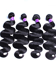 "3Pcs Lot 8""-30"" Brazilian Virgin Hair Body Wave Wavy Natural Black Brazillian Remy Human Hair Weaves Bundles Tangle Free"