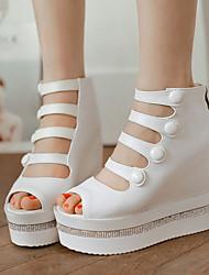 Women's Shoes Fabric/Wedges Heels/Platform Sandals Dress Black/White