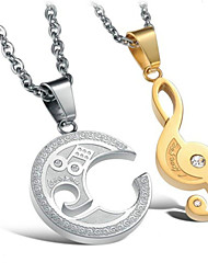 Men's Women's Couple's Pendant Necklaces Alloy Music Notes Gold Gold/Silver Jewelry Wedding Daily Casual 2pcs