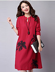 Women's Vintage Print Loose Dress,Stand Knee-length Cotton
