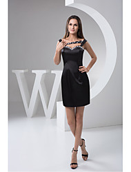 Cocktail Party Dress-Black Sheath/Column Sweetheart Short/Mini Satin