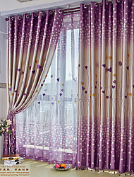 Two Panels Modern Hearts Living Room Polyester Blackout Curtains Drapes