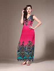 Women's Beach / Plus Size Boho Swing Dress,Patchwork V Neck Maxi Sleeveless Red / Orange / Yellow Spandex Summer