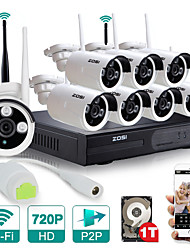 ZOSI®8CH Wifi 720P NVR Kit with1TB Hard Drive 8pcs Wireless 1.0MP Day Night Vision Weatherproof IP Camera