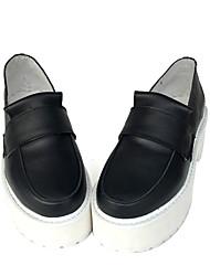 Punk Cuero 7 Tacón Cuña Negro Zapatos de Lolita