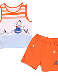 Girl's Orange Clothing Set Cotton Summer