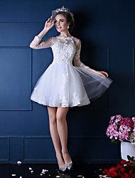Princess Wedding Dress-Ruby / White Short/Mini Jewel Lace / Tulle