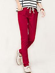 Women's Solid Blue / Red / Black Loose / Harem Pants , Casual / Simple Elastic waist Sweet Cotton / Linen