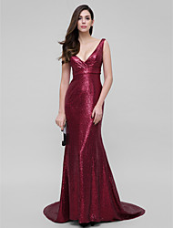 Mermaid / Trumpet V-neck Court Train Sequined Prom Formal Evening Dress with Sequins by TS Couture®
